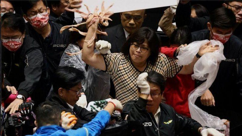 پرتاب دل و روده خوک در مجلس تایوان